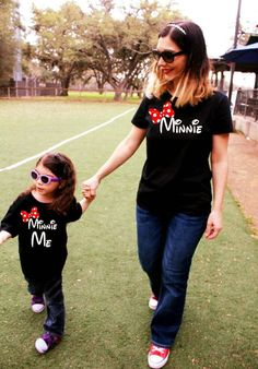 2 Shirts- MINNIE Mommy and Me disney fan Matching Shirts Outfit Mother Daughter Mama Momma womens ladies black or white mouse FREE SHIPPING!