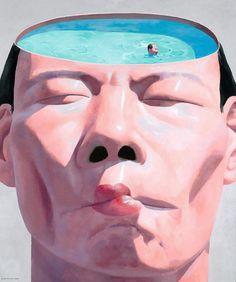 Yue Minjun,'Water', 1998