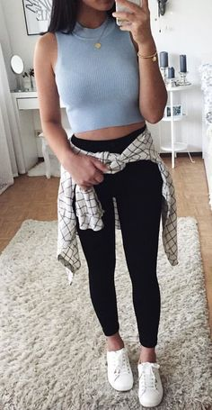 #summer #outfits Grey Crop Top + Black Crop Skinny Jeans + White Sneakers