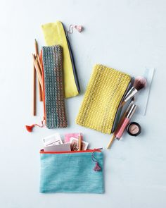 If you have basic machine-sewing skills and can crochet the simplest stitch, this pouch is a cinch to make.