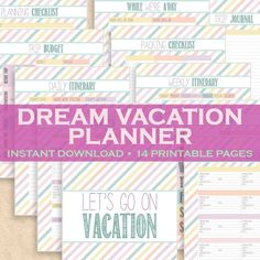 """Going on vacation? Stay organized with a vacation planner that helps you keep track of your itinerary, flight info, weekly schedule, planning checklist, packing checklist, trip budget and a """"while we're away"""" list for your house sitter or pet sitter!"""