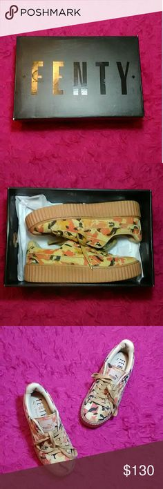 fenty creepers ORANGE CAMO RIHANNA FENTY CREEPERS i'm selling these fenty creepers because the website i bought them from lied and sold me fake shoes so i'm just trying to get rid of them . never been worn . comes with the box and dustbag . i just want these gone asap !! // tags : orange camo . fenty creepers . puma . creepers . rihanna . fenty . Shoes Platforms