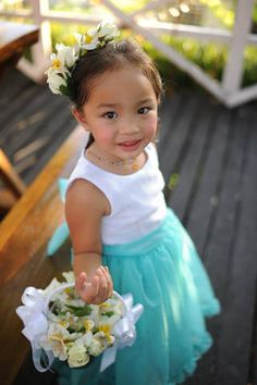 Let your flower girls look adorable in sleeveless dresses with Tiffany Blue tulle skirts. | www.BridalBook.ph