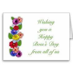 Happy bosss day for female boss with flowers card pinterest happy bosss day from all of us with flowers card m4hsunfo