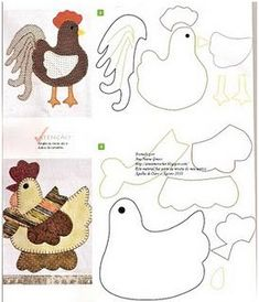 Chicken and Rooster Quilt Patterns Applique Templates, Applique Patterns, Applique Quilts, Applique Designs, Embroidery Applique, Mini Quilts, Felt Patterns, Sewing Patterns, Sewing Crafts