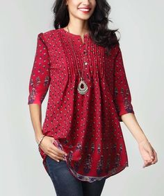 Another great find on #zulily! Burgundy Boteh Chiffon Notch Neck Pin Tuck Tunic #zulilyfinds