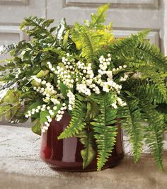 Potted Ferns with Lily of the Valley Fern Centerpiece, Green Centerpieces, Burlap Wedding Arch, Floral Wedding, Wedding Flowers, Potted Ferns, Inside Garden, Flower Arrangements Simple, Fern Plant
