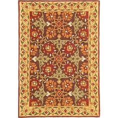 Iznik Tiles Rug in Brown (border Pattern, Rug Sample) | Handmade Area Rugs from Company C