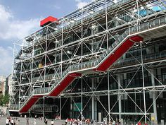 Centre Pompidou | Paris | In 1971 a competition for this new cultural center attracted 650 entries | The winning project | broke with architectural conventions by moving functional elements | such as escalators, water pipes and air conditioning to the | outside of the building | freeing interior space for the display of art works |