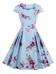 Sweetheart Neck Floral Print Pleated Dress - BLUE XL Mobile