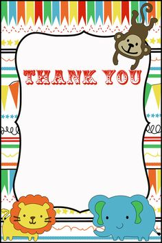 Circus Party Thank You cards