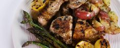 Carla Hall/'s Herb Chicken with Smash Potatoes and Grilled Asparagus Smash Potatoes, Grilled Asparagus Recipes, The Chew Recipes, Chicken Potatoes, Latest Recipe, Spring Recipes, How Sweet Eats, Carla Hall, Grilled Chicken