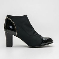Black ankle boots, fashionable high heels Fashionable and stylish ankle boots. Made from several materials. Stable pillar heel is very comfortable. Footer and toe of patent eco leather.  Perfect for casual or elegant stylization. Heel: 8.5 cm Material: textiles, lacquer eco leather https://cosmopolitus.eu/product-eng-36668-Black-ankle-boots-fashionable-high-heels.html #shoes #autumn #practical #shoe #Workers #elegant #comfortable #post #upper #ankle
