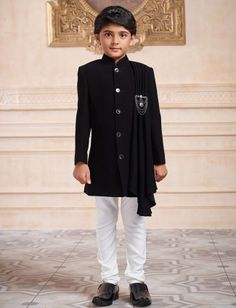 Solid black terry rayon indo western for boys
