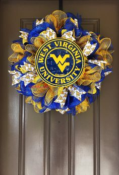 Hey, I found this really awesome Etsy listing at https://www.etsy.com/listing/292814873/deluxe-mountaineers-wreath-west-virginia