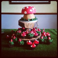 Just come back from setting up one of my favourite cake orders of all time. Enchanted Garden. Giant maple and pecan sponge toadstool with two types of maple and pecan toadstool cupcakes www.yestercake.co.uk