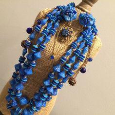 Vintage Japan Blue Unique Beaded Necklace & Earrings-Rhinestone Brooch-5 Pc Lot