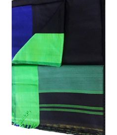 Black Handloom Maheshwari Cotton Silk Saree