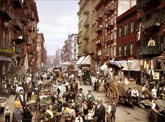 """1900. Little Italy, Mulberry Street. Where residents have seen organized members of the Italian Mafia: - Ignazio """"The Wolf"""" Lupo ( 1890s-1920s) - Michele """"Big Mike"""" Miranda (1950s into the late 1960s) - Peter DeFeo (1960s into 1970s) -Matthew """"Matty the Horse"""" Ianniello (from his restaurant Umberto's Clam House in the 1970s) - John Gotti (in the late 1980s into the early 1990s)"""