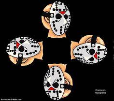 Dremico's Entertainment: 3-D Metal Jason Head Rotation 4 Face Hologram