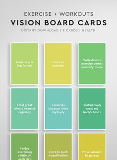 for Vision Boards: Wellbeing & Fitness, Vision Board Printable, Vision Board Cards, Law of Attraction, Daily Affirmations Vitamin B12 Mangel, Creating A Vision Board, Miracle Morning, Affirmation Cards, Daily Affirmations, Health Motivation, Law Of Attraction, Attraction Quotes, Boards
