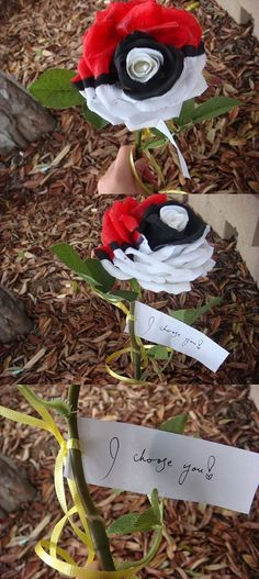 Pokeball Rose - great idea for DIY