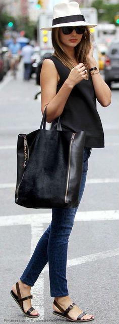 Black handbag, black short top and blue jean...except way cuter shoes