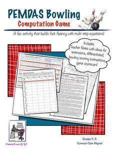 PEMDAS (ORDER OF OPERATIONS) BOWLING COMPUTATION GAME - TeachersPayTeachers.com