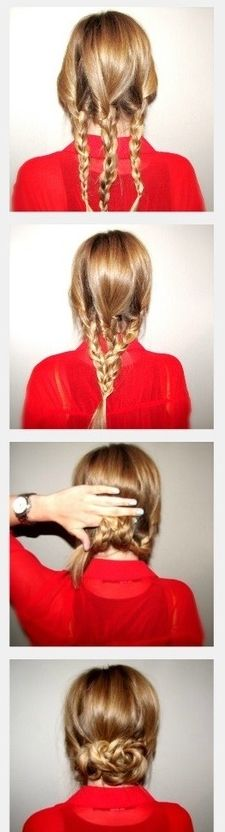 (Do as a chignon) Begin with three regular three strand braids and wrap with clear elastic Loosely braid all three strands together in a regular three strand braid and wrap with clear elastic Roll the braid up, hiding the tail, and secure. Good Hair Day, Great Hair, Up Hairstyles, Pretty Hairstyles, Hairstyle Ideas, Wedding Hairstyles, Fringe Hairstyle, Vintage Hairstyles, Curly Hairstyle