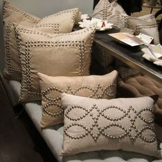 Studded natural linen pillows from Jamie Young --love the idea ~~~ Sewing Pillows, Diy Pillows, Linen Pillows, Accent Pillows, Decorative Pillows, Throw Pillows, Pillow Ideas, Cushion Covers, Pillow Covers
