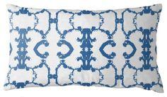 Lumbar Throw Pillow in Lantana, Anchor Reverse Blue and White