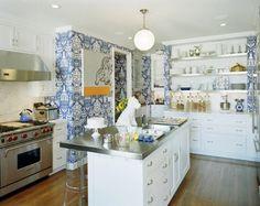Blue and white kitchen.  The Vase wallpaper