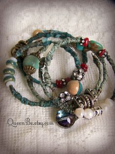 Turquoise Bangle Bracelet Stack Vintage Gypsy Boho Bracelet~<3