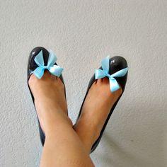 Mini Bow Shoe Clips - Tiffany Blue Satin Ribbo
