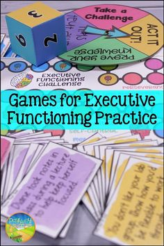 Games to build executive functioning skills like planning, organization, self-control, flexibility, perseverance, time management, and more! Love these ideas with board games like Jenga, Blurt, and more. Every teacher can try these ideas in the classroom! Social Work, Social Skills, Management Games, Adhd Strategies, Writing Goals, Mental Health Resources, Executive Functioning, Student Success, Study Skills