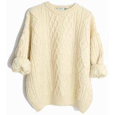 Vintage Cable Knit Wool Fisherman Sweater in Ivory Cream Irish... ($64) ❤ liked on Polyvore featuring tops, sweaters, cable-knit sweater, petite tops, beige sweater, wool sweaters and vintage sweaters