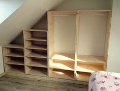 Manufacture and installation for this pine dressing. Adjustable shelves on perforated tracks, finishing by sanding-polishing. Attic Bedroom Designs, Attic Rooms, Attic Spaces, Attic Design, Attic Storage, Storage Spaces, Attic Closet, Room Closet, Attic Remodel