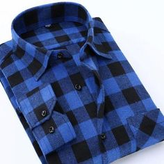 d8ae0db49fb Men s Long Sleeve Contrast Bold Plaid Brushed Shirt with Left Chest Pocket  Slim-fit Comfortable Soft Work Casual Flannel Shirts