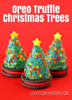 Oreo Truffle Christmas trees. Oreos topped with chocolate Oreo truffles shaped like Christmas trees!  Adorable and delicious, great holiday treat!
