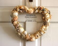 11 inch Seashell Heart Wreath Wedding Front Door Shell Wall Decor Summer White Natural Beige Nautical Coastal Beach House Cottage Christmas