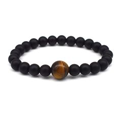 Buddhist Matte Black Beads High Quality Natural Tiger Eye Stone Beaded Men Casual Women Lover Stretchy Bracelets Fashion Jewelry