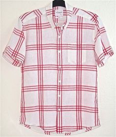 Saturdays Surf NYC Mens Shirt Plaid Cotton Linen White Red Button Front L  #SATURDAYSSURFNYC #ButtonFront