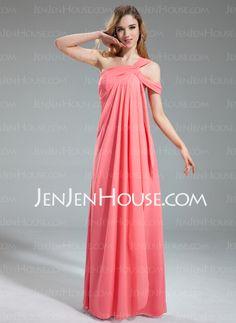 Bridesmaid Dresses - $126.29 - A-Line/Princess One-Shoulder Floor-Length Chiffon Bridesmaid Dress With Ruffle (007019609) http://jenjenhouse.com/A-Line-Princess-One-Shoulder-Floor-Length-Chiffon-Bridesmaid-Dress-With-Ruffle-007019609-g19609