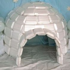 Styrofoam igloo - fun project for excess leftover containers Everest VBS Arctic Decorations, Hanging Decorations, Operation Arctic, Everest Vbs, Mount Everest, Diy And Crafts, Crafts For Kids, Vacation Bible School, Diy Décoration