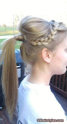 beautiful ponytail hairstyle idea with braid - 99 Hairstyles Ideas