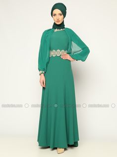 Guipure decked Evening Dress - Green - Mileny