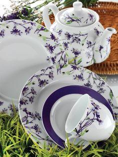 kütahya porselen eflatun çiçekli kahvaltı takımı