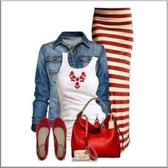 CHATA'S DAILY TIP!: This light-weight denim jacket complements the red and white combination of this outfit very well. The tapered skirt ensures a slimming effect; horizontal stripes, however, have the tendency to widen the hips. This skirt is, therefore, best worn if you have either balanced hips and shoulders, or wider shoulders and narrower hips with a flat tummy! COPY CREDIT: Mart-Marie Fourie http://chataromano.com/consultant/mart-marie-fourie/ IMAGE CREDIT: Trends for everyone blog