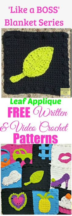 "Free written pattern and video tutorial for a Crochet Leaf Applique. ""Like a Boss"" Blanket Series Crochet Leaf Square Pattern. Intertwined Art"