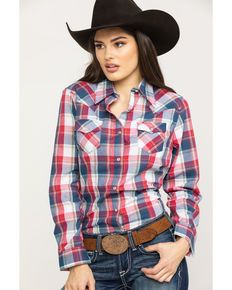 4dcbad4c Western Tops for Women: Embroidered & More. Wrangler Womens Multi Color  Lurex Plaid Long Sleeve Western Shirt ...